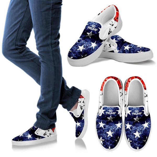 Go Trump Flag Womens Slip On Shoes - DonaldTrumpStoreUSA_com
