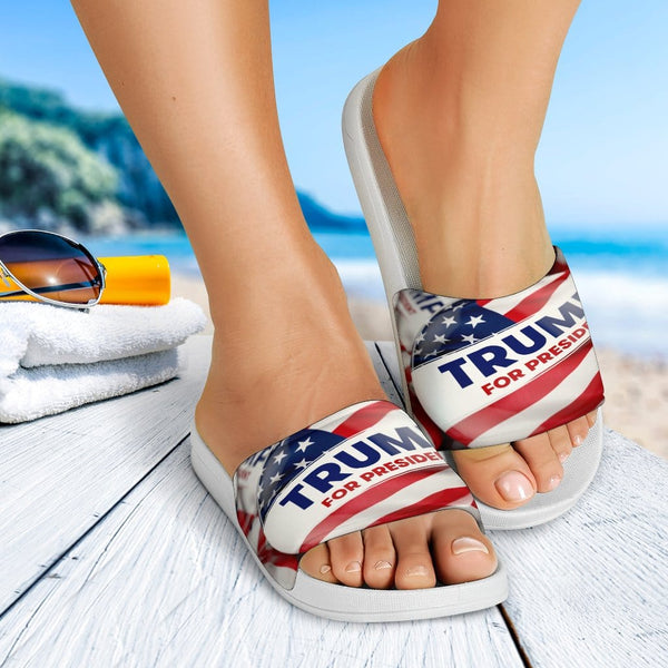 Trump Button Slide Sandals - DonaldTrumpStoreUSA_com