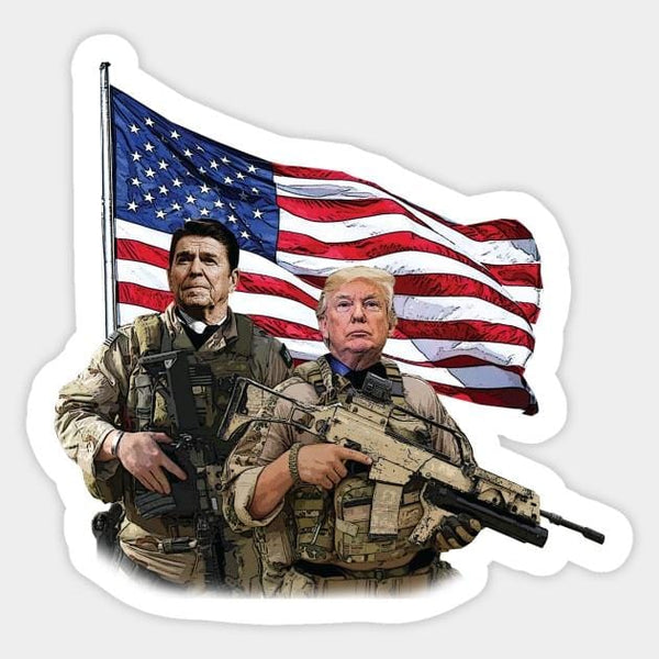 Ronald Reagan & Donald Trump USA Flag Sticker - DonaldTrumpStoreUSA_com