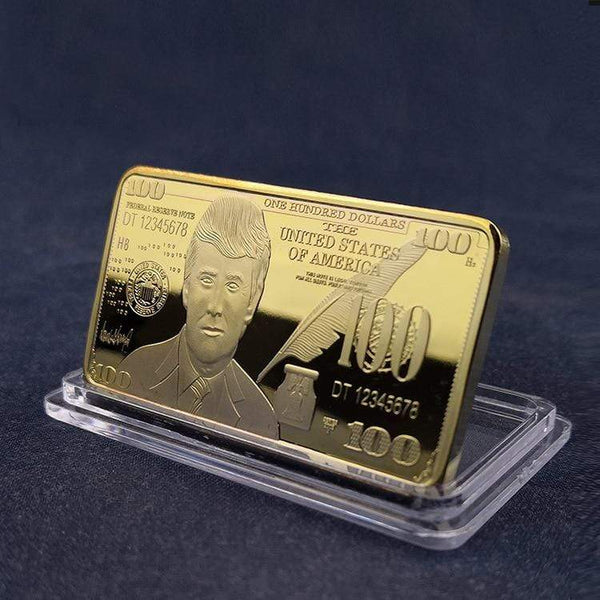 Gold Plated Trump Bullion Bar - DonaldTrumpStoreUSA_com