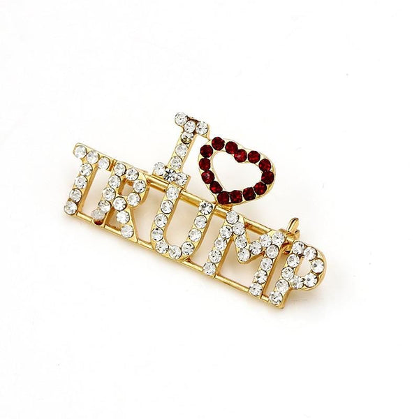 I Love Trump Rhinestone Fashion Pin - DonaldTrumpStoreUSA_com