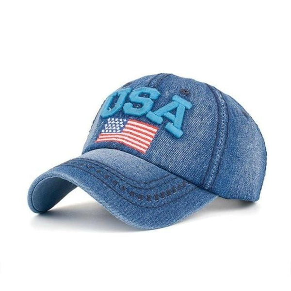 Ladies USA Flag Denim Cap - DonaldTrumpStoreUSA_com