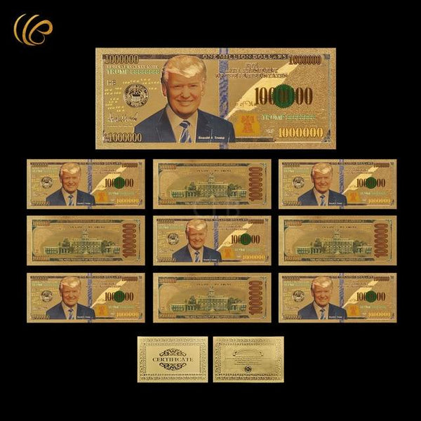 Trump Gold Plated $1 Million Banknote 10pcs - DonaldTrumpStoreUSA_com