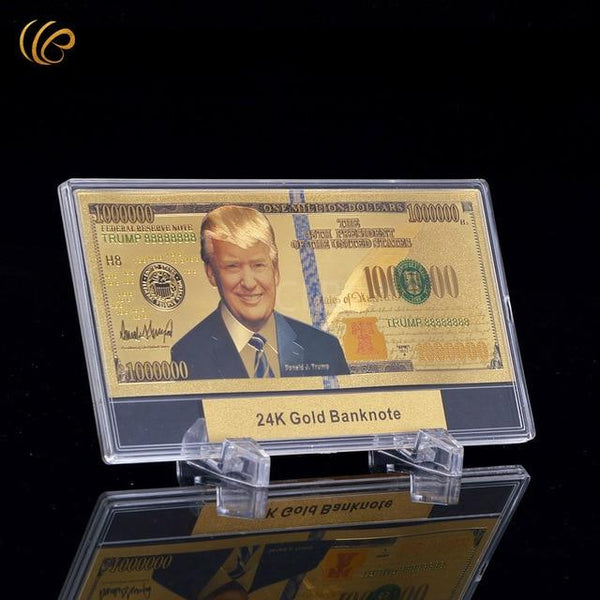 Trump Gold Plated $1 Million Display Banknote - DonaldTrumpStoreUSA_com