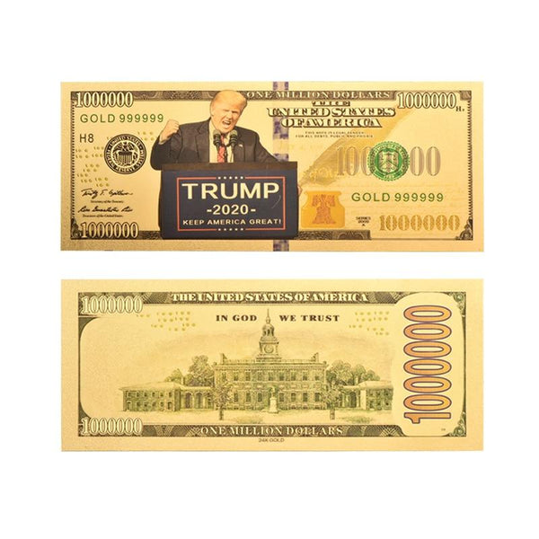Gold Plated Trump 2020 One Million Dollar Banknote - DonaldTrumpStoreUSA_com
