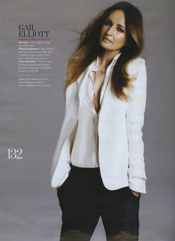 Gail Elliot wearing a Little Joe Woman white silk shirt & blazer