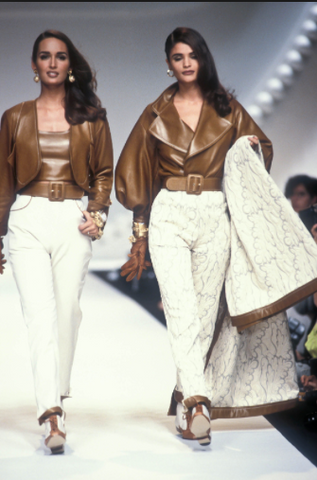 Gail Elliott & Helena Christensen on the Oscar De La Renta runway in New York