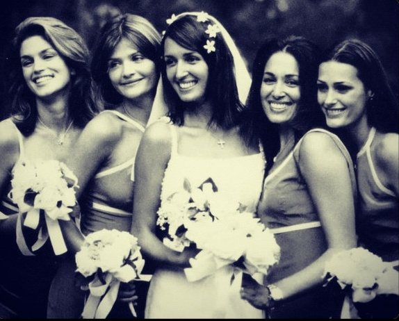 Bridesmaids at Joe Coffey & Gail Elliott's wedding in The Hamptons, N.Y Cindy Crawford, Helena Christensen, Gail Elliott, Dawn Elliott-Pettifour & Yasmin Le Bon