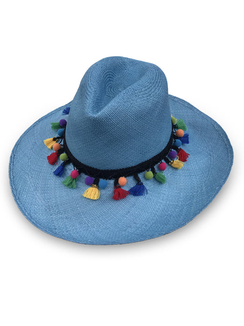 Wide Brim Panama Hat - BLUE with pom-poms