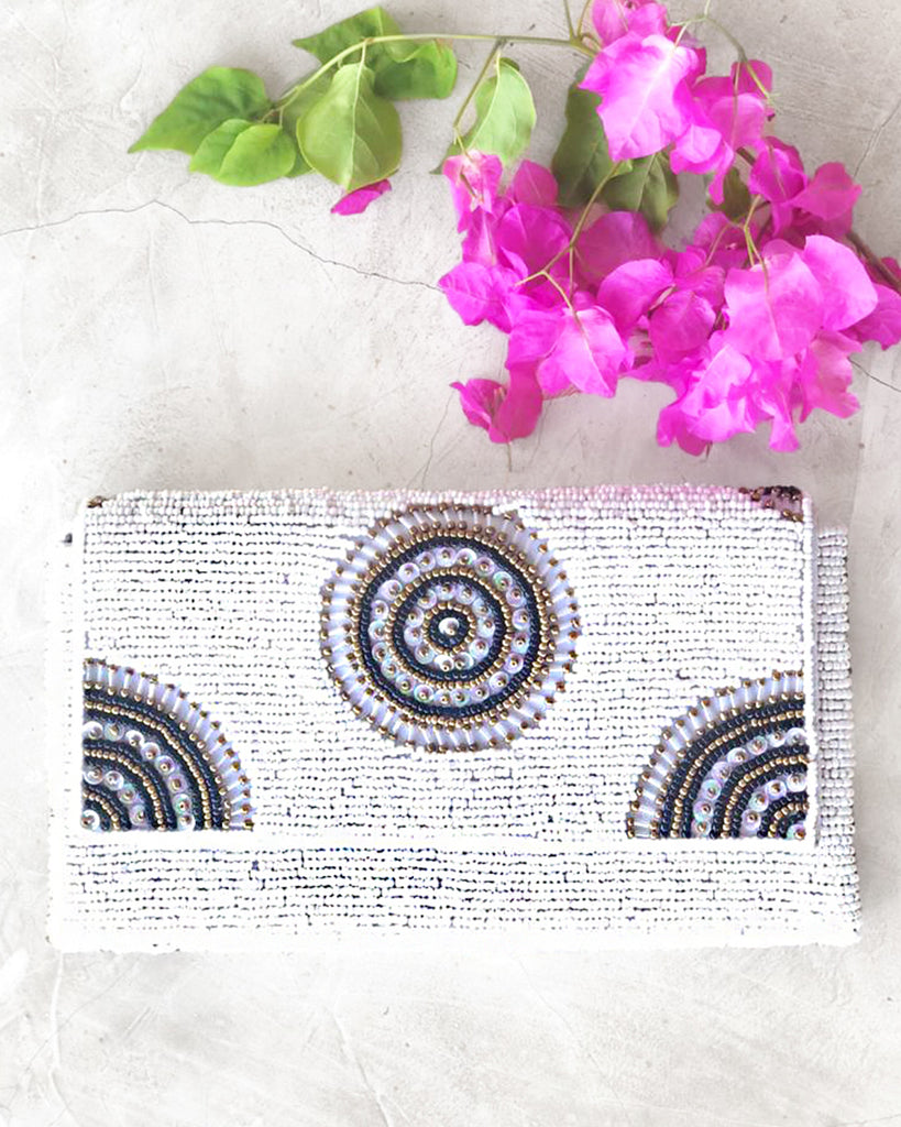 PARKER BEADED CLUTCH WHITE