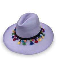 Wide Brim Panama Hat - LILAC with pom-poms