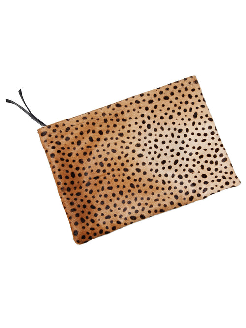 Luna Leather and Leopard Print Pony Hair Clutch - Little Joe Woman by Gail Elliott E-Boutique