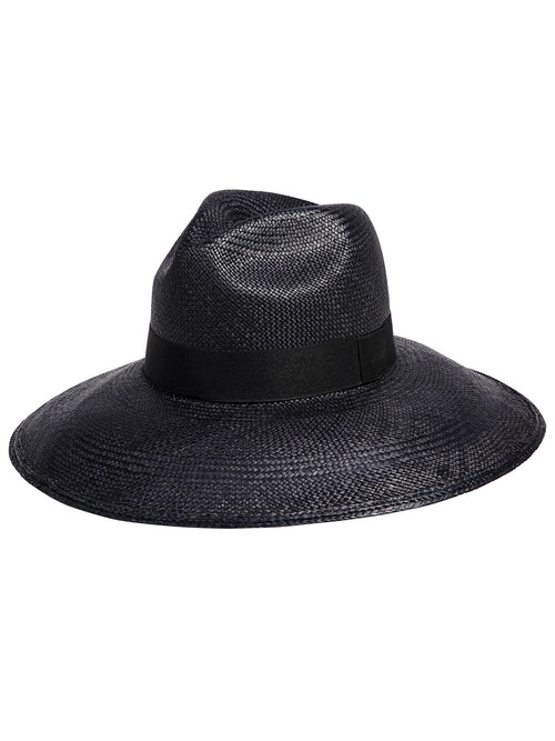 Wide Brim Panama Hat / Black - Little Joe Woman by Gail Elliott E-Boutique  - 1