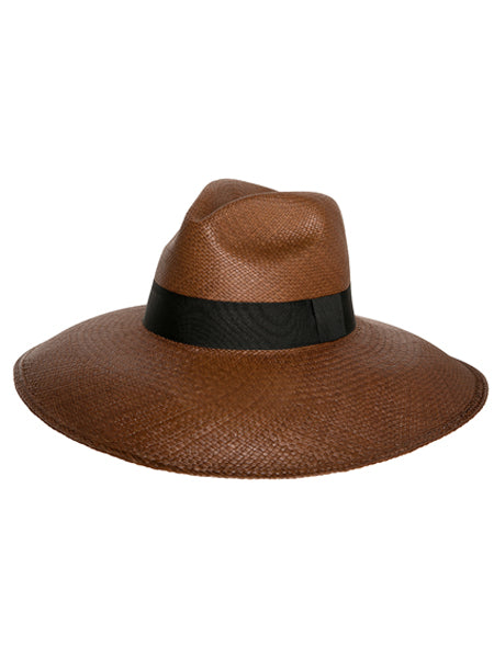Wide Brim Panama Hat - Tobacco