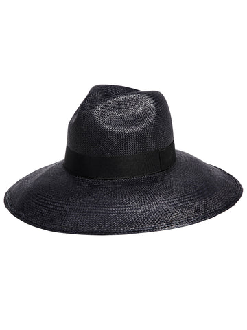 Wide Brim Panama Hat - Black