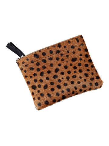 Luna Leather and Leopard Print Pony Hair Clutch