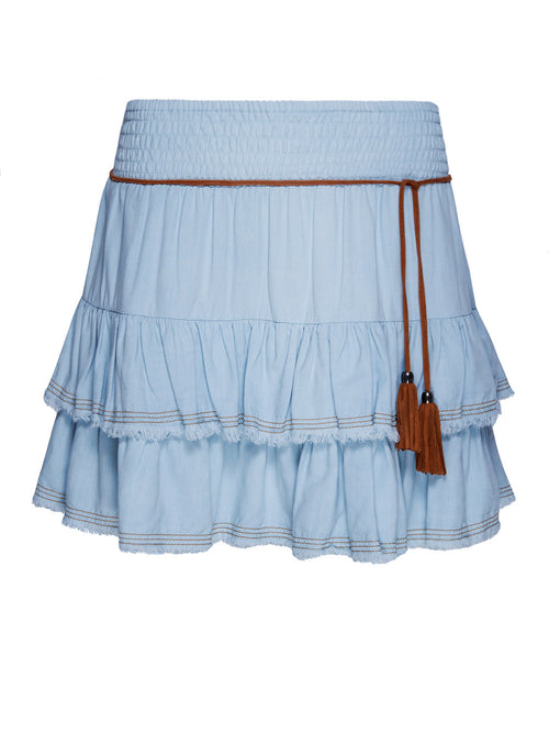 PARTY UP LIGHT DENIM SKIRT - Little Joe Woman by Gail Elliott E-Boutique  - 1