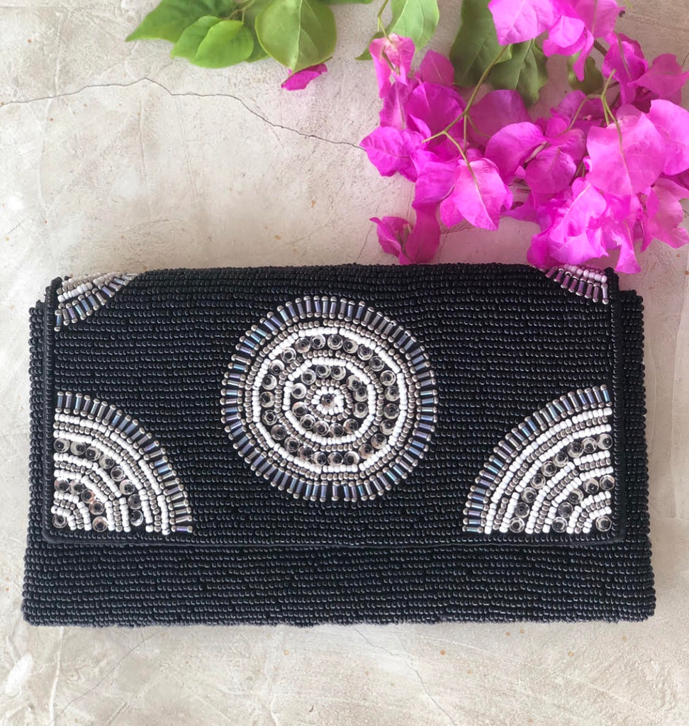 PARKER BEADED CLUTCH BLACK