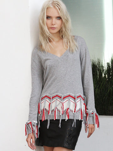 SILVER FLASHES KNIT TOP