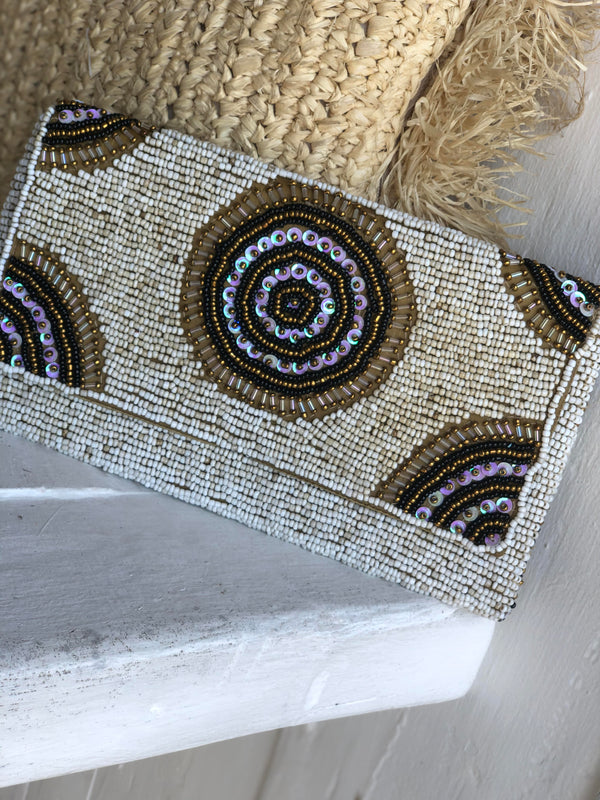PARKER BEADED CLUTCH NATURAL