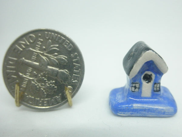 Miniature 1/12th bird house blue and white