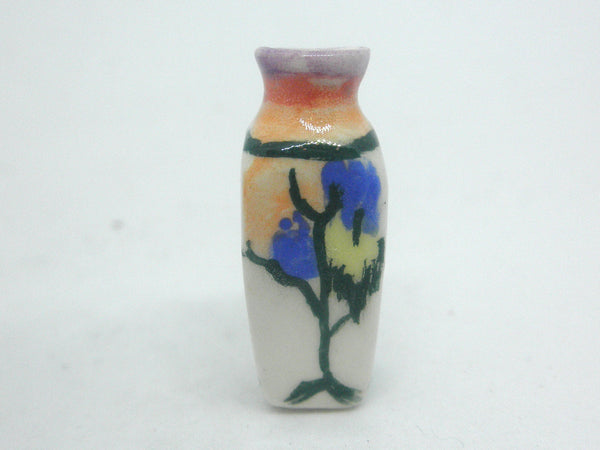 Miniature ceramic vase art deco with trees