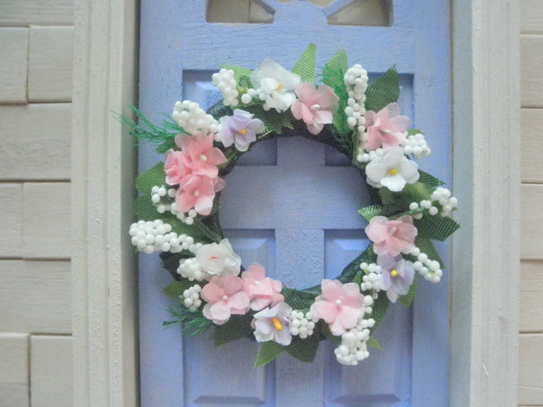 Miniature spring wreath pink and white