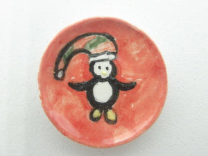 Miniature Christmas plate - Penguin on red