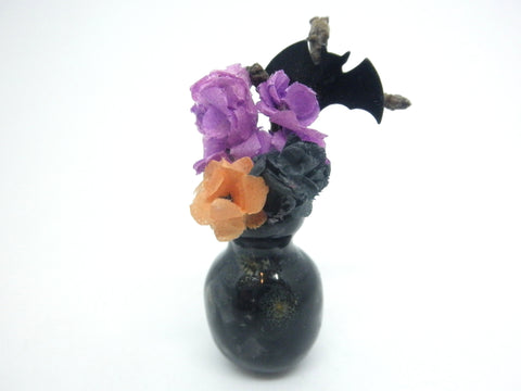 Miniature Ceramic Halloween black vase with flowers and bat