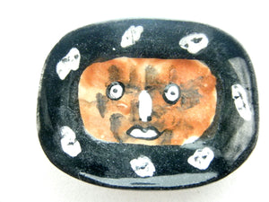 Miniature Picasso inspired ceramic plate -  dark brown face