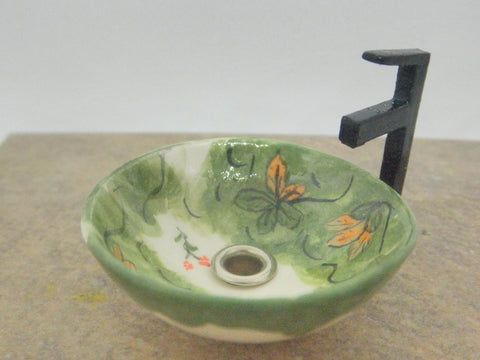 Vessel sink 1/12th painted with flowers