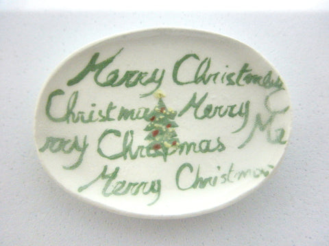 Miniature Christmas oblong plate - spruce with writing on background