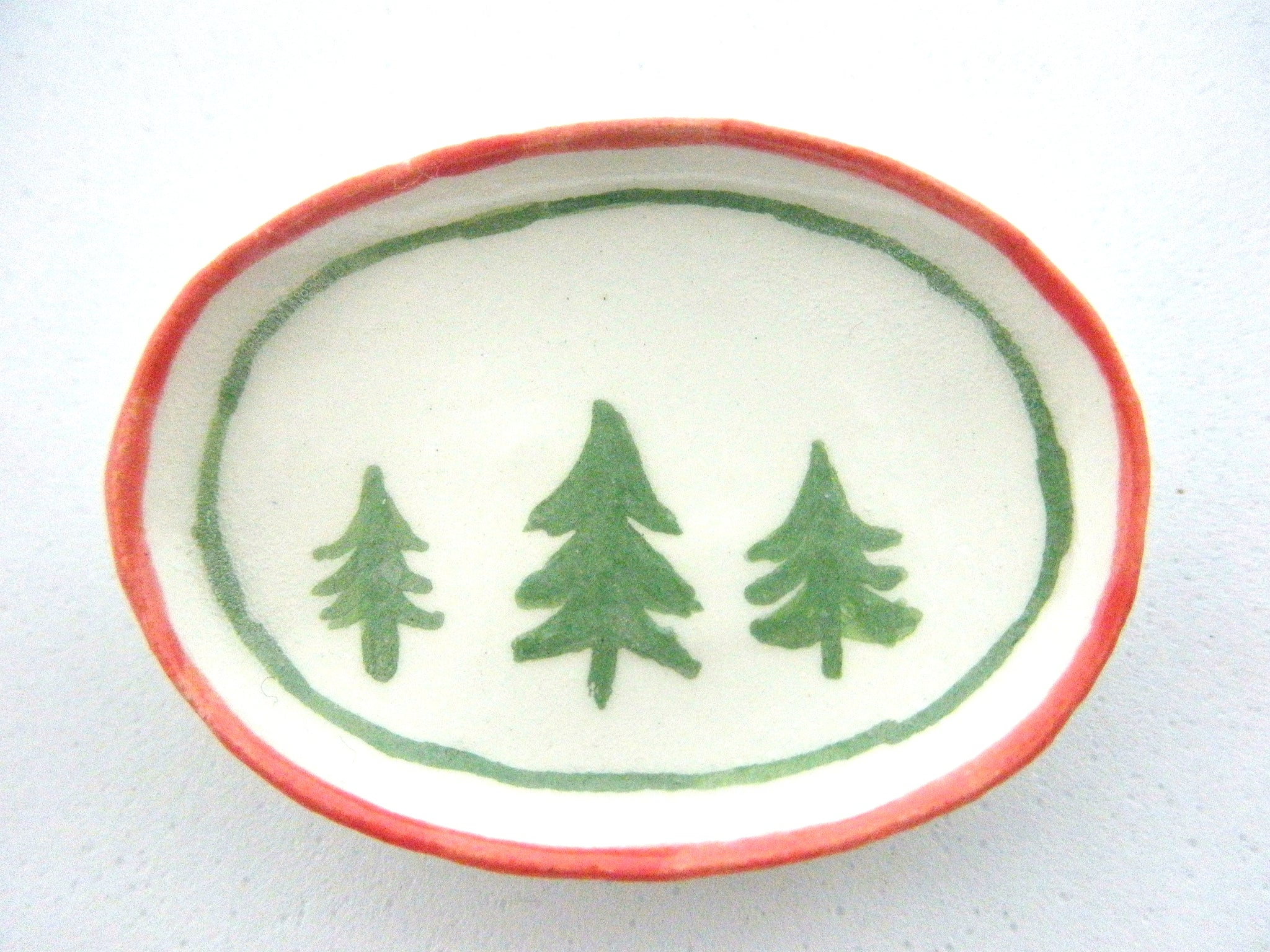 Miniature Christmas dish  with 3 trees