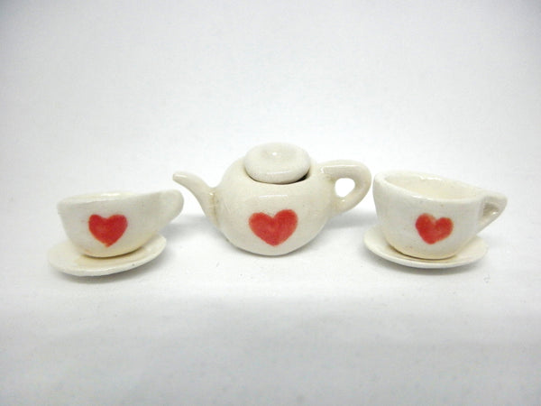 Miniature Valentine tea for two set