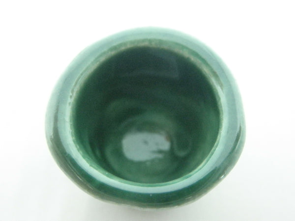 Miniature ceramic green planter with stripes