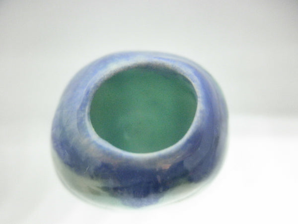 Miniature ceramic gourd vase turquoise and blue