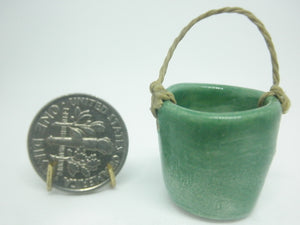Miniature ceramic water bucket - green