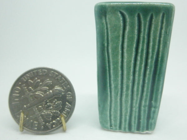 Miniature modern tall planter - stripes green