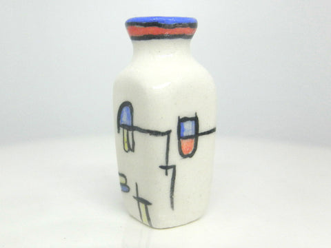 Miniature art deco ceramic vase geometric