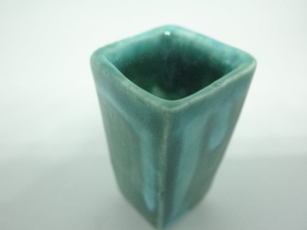 Miniature modern tall planter - green with turquoise
