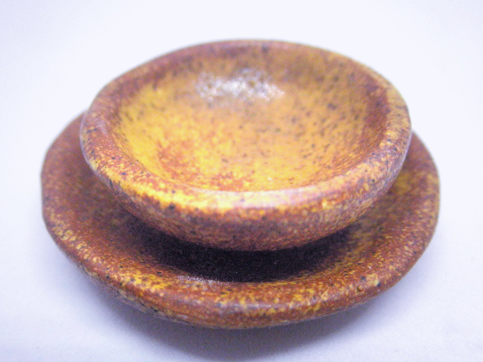 Miniature ceramic rustic stone like dinnerware