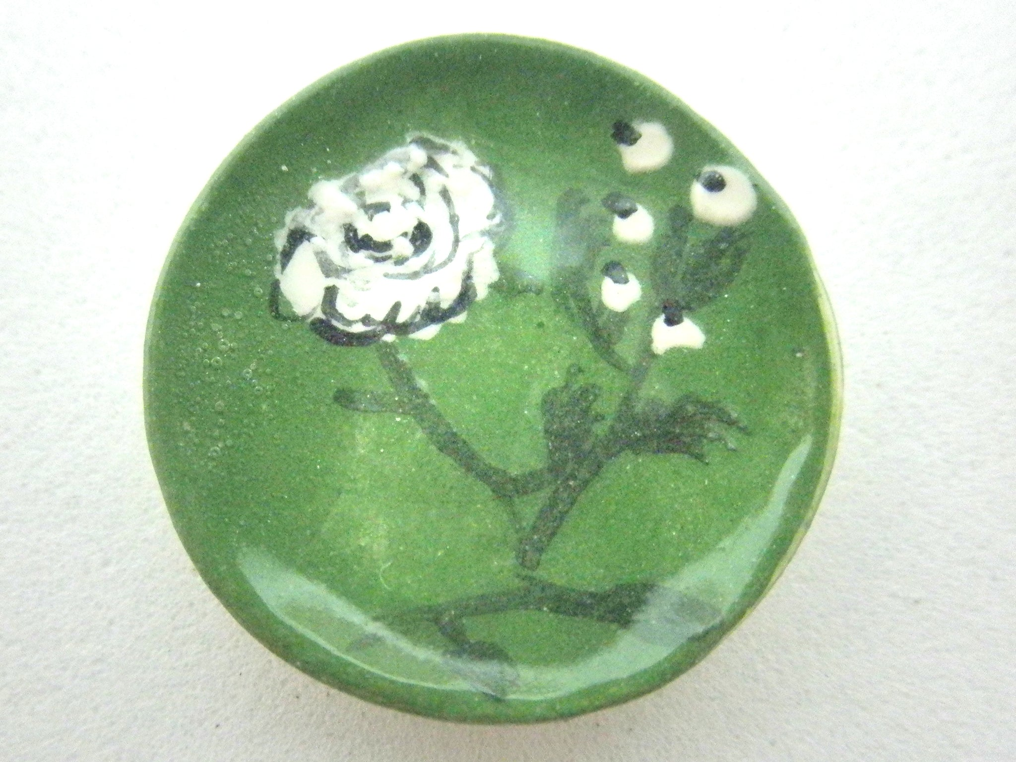Miniature ceramic plate - peonies on green