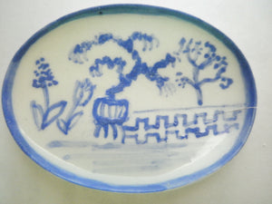 Blue and White Oriental Ceramic oval dish - potted tree
