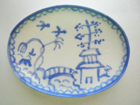 Blue and White Oriental Ceramic oval plate - birds with border