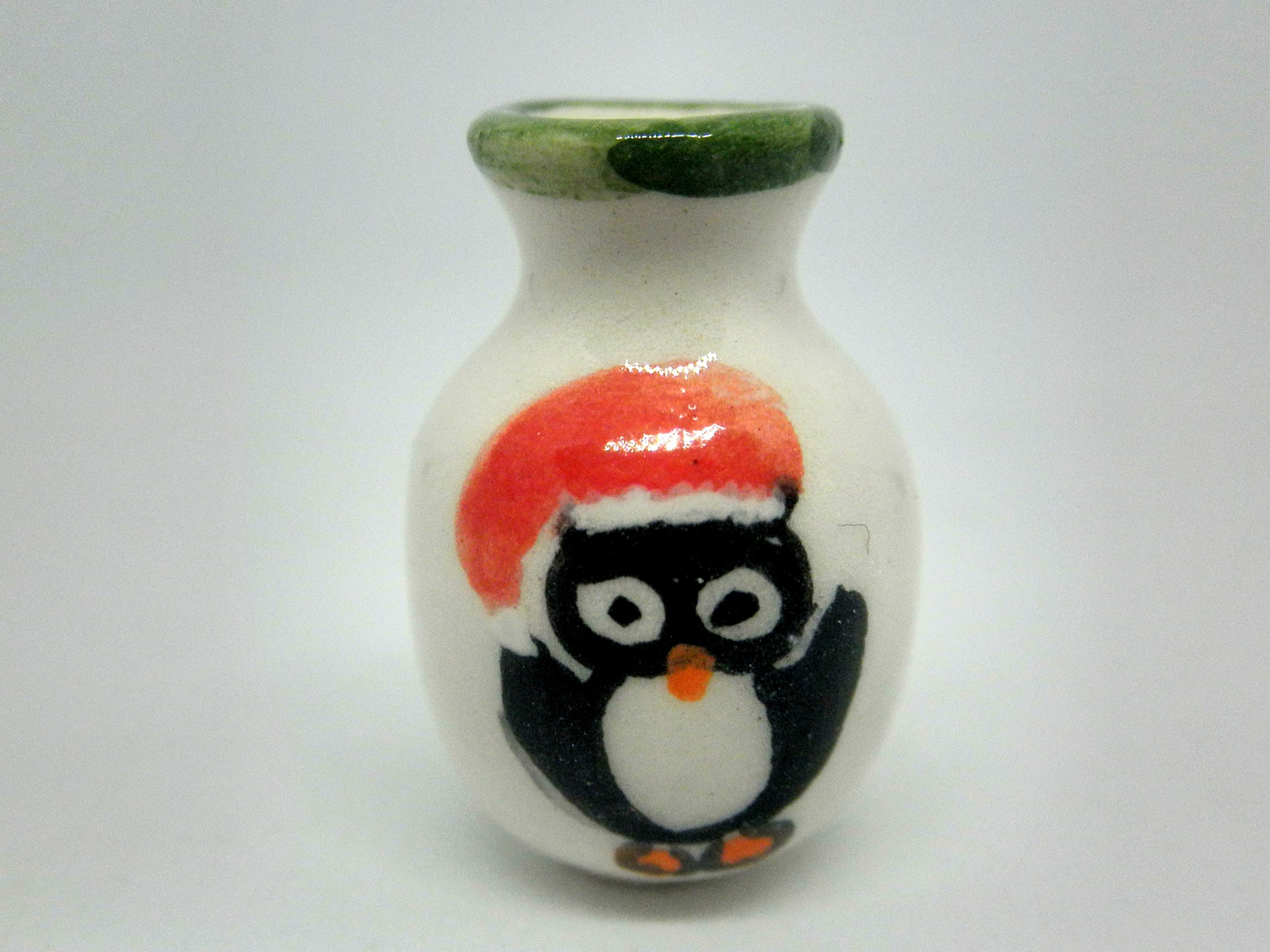 Christmas vase with penguin