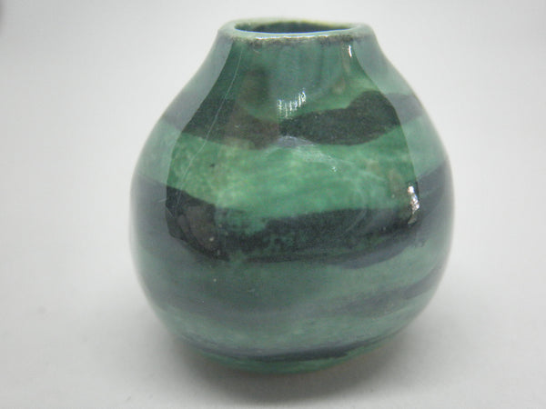 Miniature ceramic gourd vase with black and green stripes