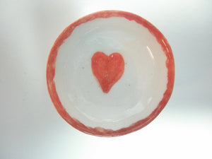 Miniature ceramic bowl red heart