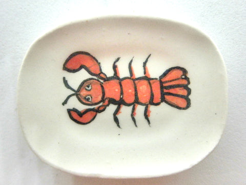 Miniature ceramic dish with red lobster