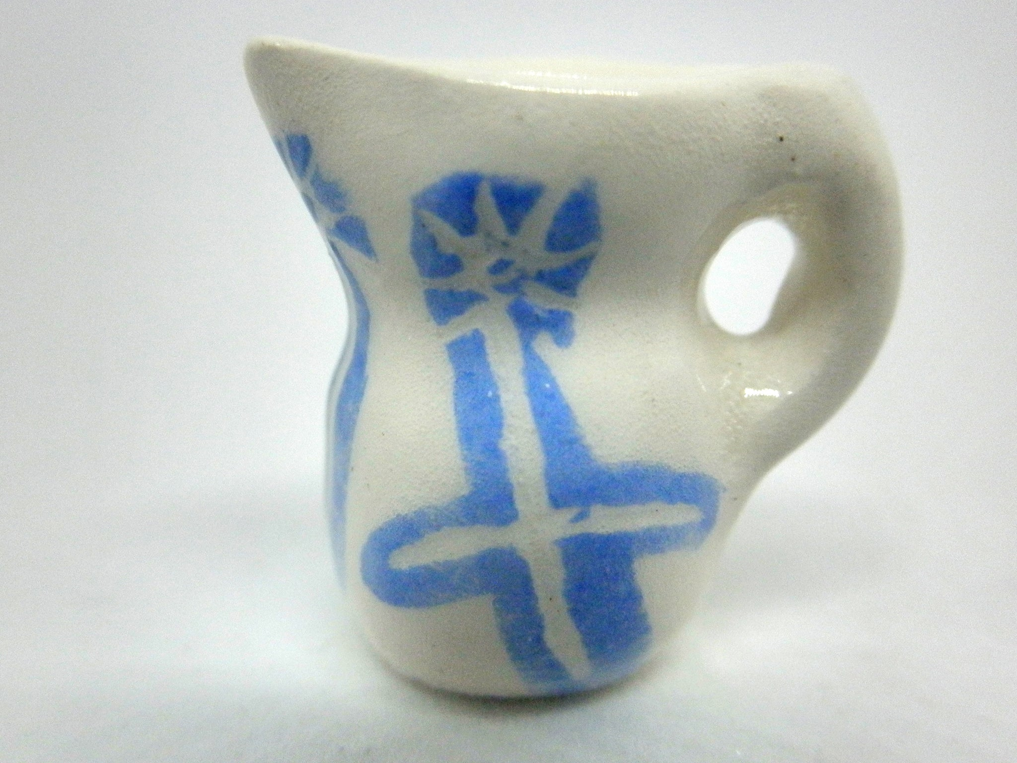 Miniature Picasso inspired pitcher - scrafitto blue
