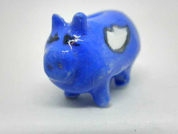 Miniature ceramic piggy bank - blue with clouds